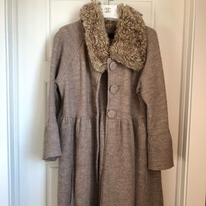 Zara Jacket faux fur mid thigh length size large